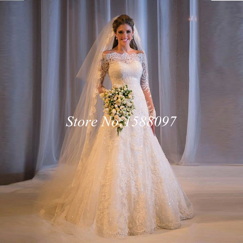 Custom Made 2017 New Ivory Lace Wedding Dress A Line Full Sleeve Dresses Boat Neck With Shining Beads In From Weddings