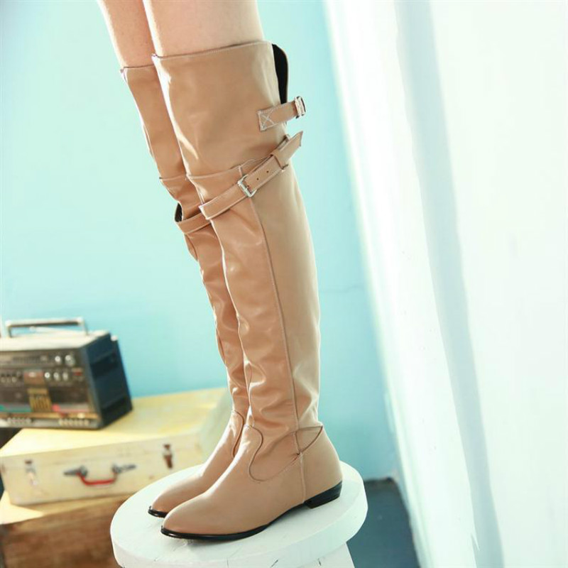 e55486cdc64 New Autumn Winter Thigh High Boots Fashion Women Pu Leather Pointed Toe Flat  Over-the-Knee Boots Sexy Ladies Plus Size Shoes