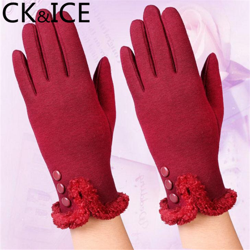 CK&ICE New Women Gloves Mittens Winter Warm  Wool Guantes Lace Bow Rabbit Furball Accessories Thicken Anti-Cold Female Gloves
