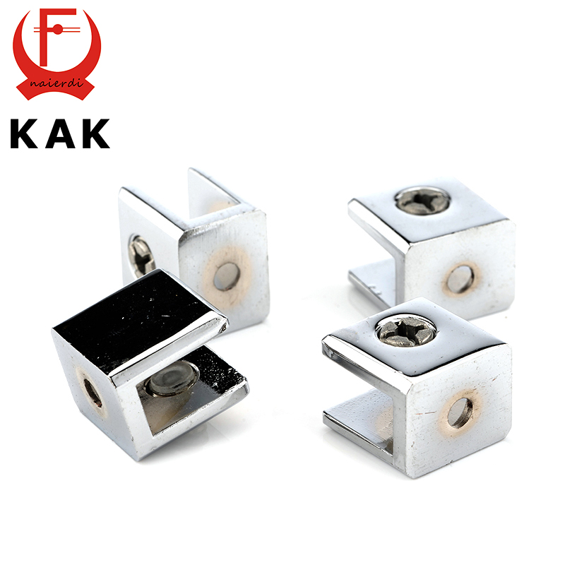 4PCS KAK Square Glass Clamps Zinc Alloy Shelves Support Brackets Clips For 10mm Acrylic Furniture Hardware