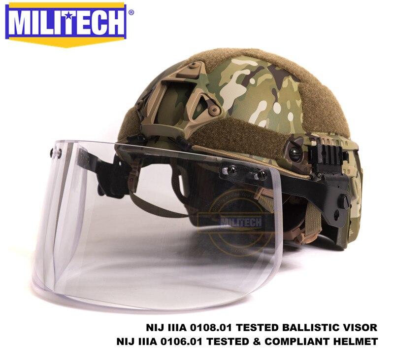 Militech Multicam OCC Liner NIJ 3A IIIA FAST Bulletproof Helmet and Visor Set Deal Ballistic Helmet