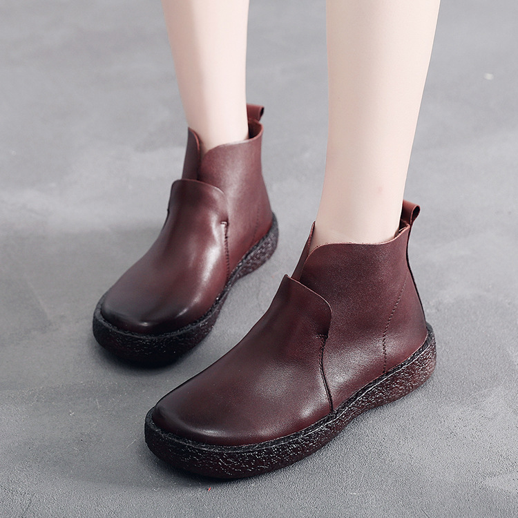 New women's walking shoes Leather fashion casual wild top layer leather handmade women's Literary retro shoes JINBEILE