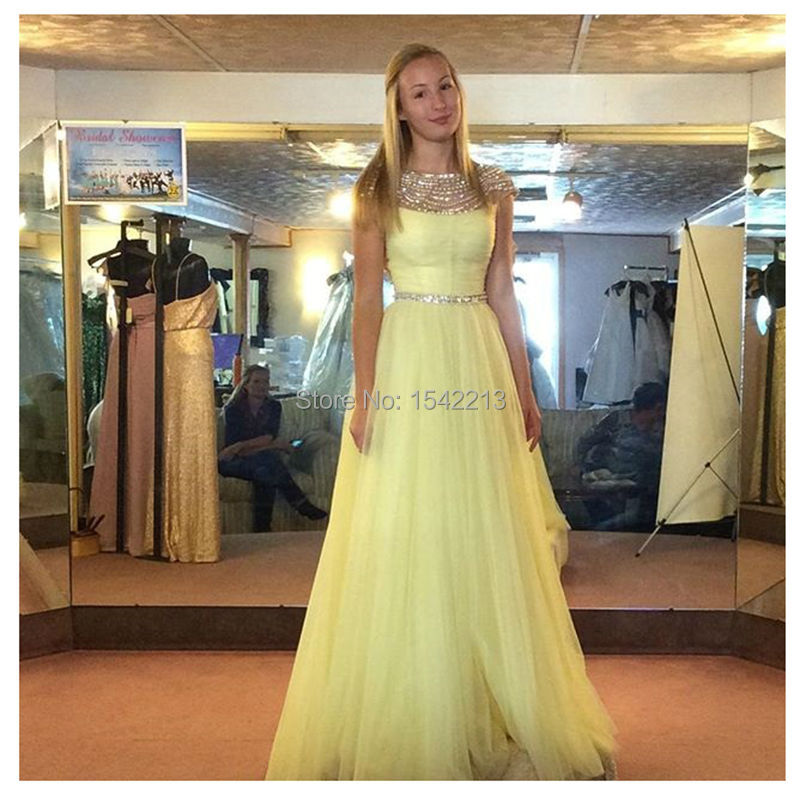 Shiny Beaded Light Yellow Short Sleeves Prom Dress Plus Size Cheap