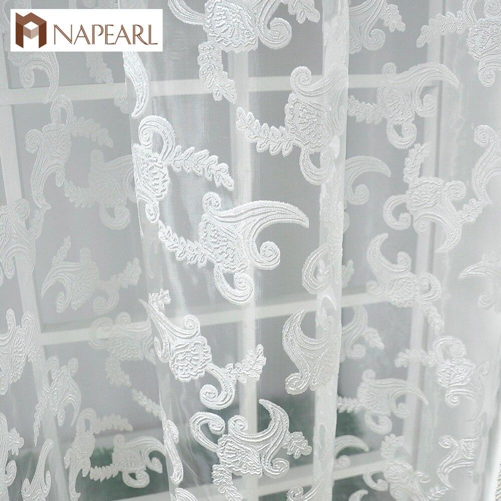 ᐃamericain Style Rustique Jacquard Conception Sheer Panneau Rideaux