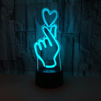 3D Led Loving Hand Gesture Modeling Table Lamp 7 Color Change USB Finger Heart Night Light