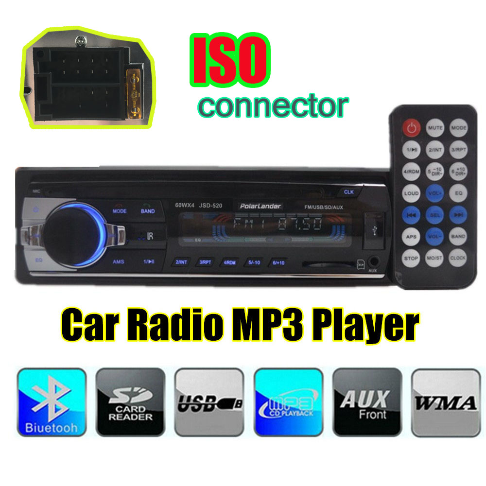 1 din bluetooth handfree Car Radio In-Dash 12V FM USB AUX IN SD MMC Port remote control ISO connector audio stereo MP3 player image