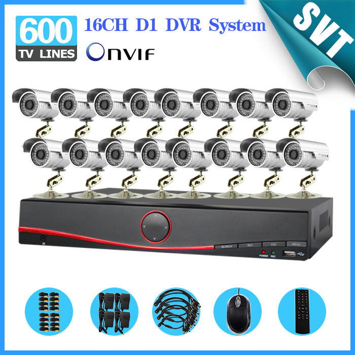 NVR 16 Channel outdoor waterproof night vision Security Camera System 16CH H.264 DVR HVR surveillance Kit for DIY CCTV System  16ch video camera recorder dvr with 16pcs outdoor waterproof ir day night vision surveillance camera 16ch security sytem dvr kit