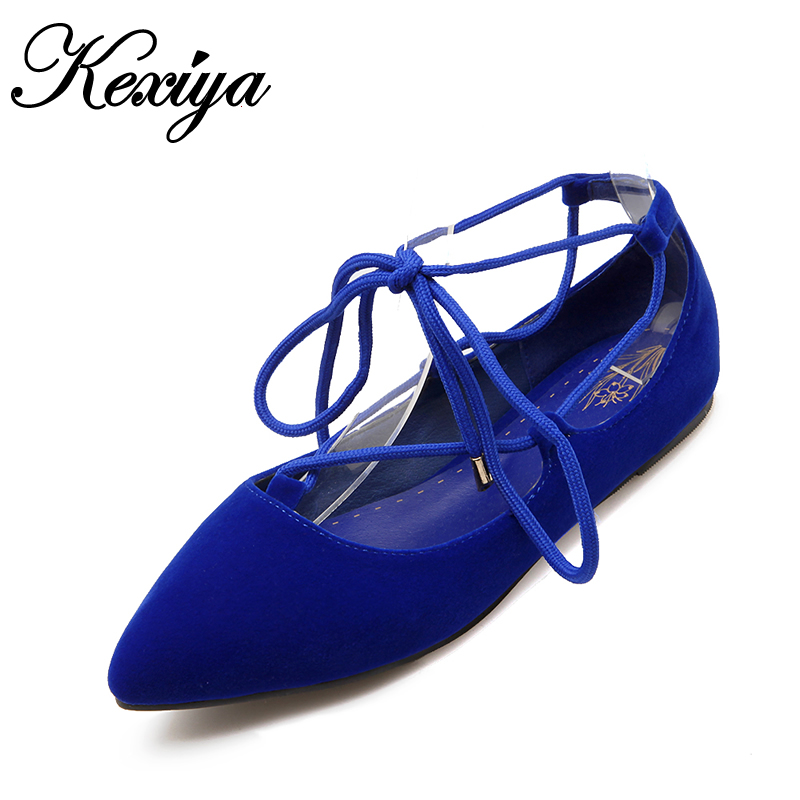 2016 New Spring/Autumn red women wedding flat shoes plus size 28-52 fashion flock Pointed Toe Lace-Up ladies Ballet flats E1277 2017 spring summer new pointed flat flock bow women s shoes work shoes ballerina flats plus size 34 41