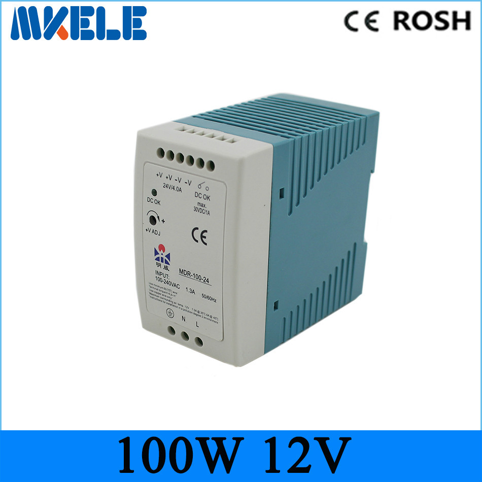 MDR-100-12 ac dc power supply 100w 12vdc 8.3A switching Power Supply Driver for LED Strip Light Module Display ac 85v 265v to 20 38v 600ma power supply driver adapter for led light lamp