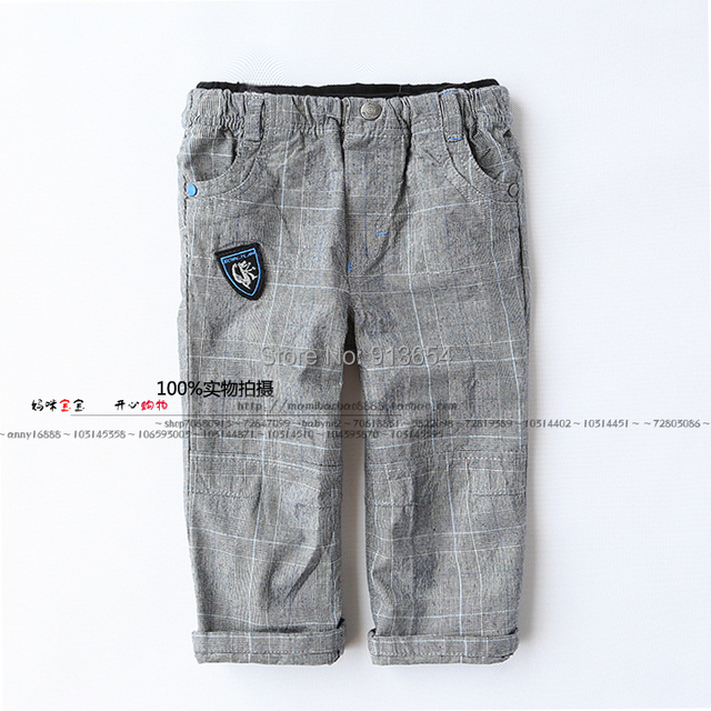 new 2014 spring autumn boys pants kids clothes child casual pants baby boys gray plaid pants
