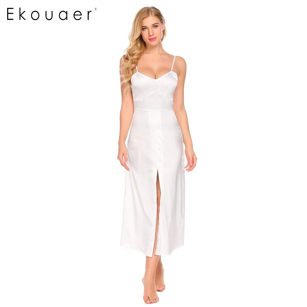 Ekouaer 2017 Summer Women Casual Nightgowns Spaghetti Strap V Neck Sleeveless Front High Split Long Sleep Dress Female Sleepwear