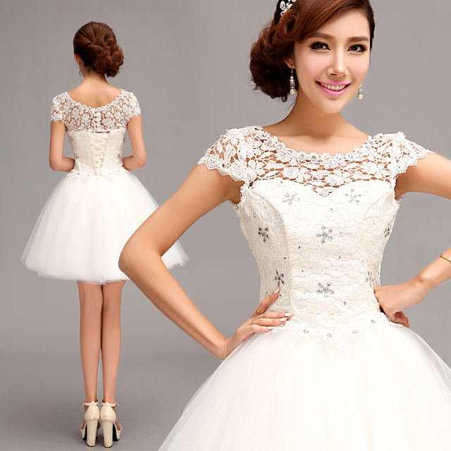 0490a46843b 2014 Bride white bridal white lace short evening dress bridesmaid wedding  party dress princess prom dress 301