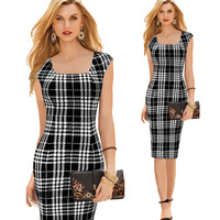 Simple Classic Style Square Neck Women Black Plaid Pencil Work Dress Office Lady S Tailored Working