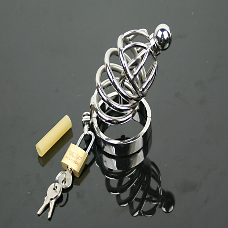 ФОТО 100% Stainless Steel Chastity Cock Cage Male Chastity Belt Penis Restraint Belt Man Toy Locked Cages Sex Toys For Man