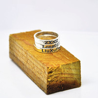 Wholesale Sterling Silver Stacking Rings Engraved Name Personalized Rings Set Hand Stamp Words BFF Jewelry Custom