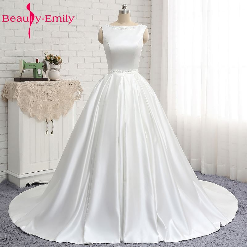 Beauty Emily White Satin Vintage Wedding Dresses 2019 Ball Gown Sequined  Off the Shoulder Vestidos De 3ad00ff4cda9