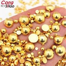 Плоские с оборота полукруглые золотые жемчужины ABS имитация жемчуга Акриловые стразы для скрапбукинга 3D не горячей фиксации украшения для ногтей WC94