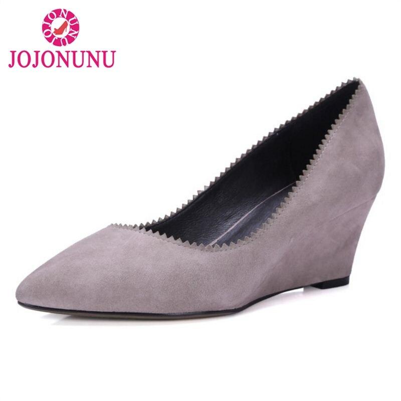Cuñas Calzado Oficina Negro 40 33 Tamaño Partido Señora Genuino Zapatos Club gris Jojonun Punta Del Estrecha Bombas Cuero Mujeres R1nFx