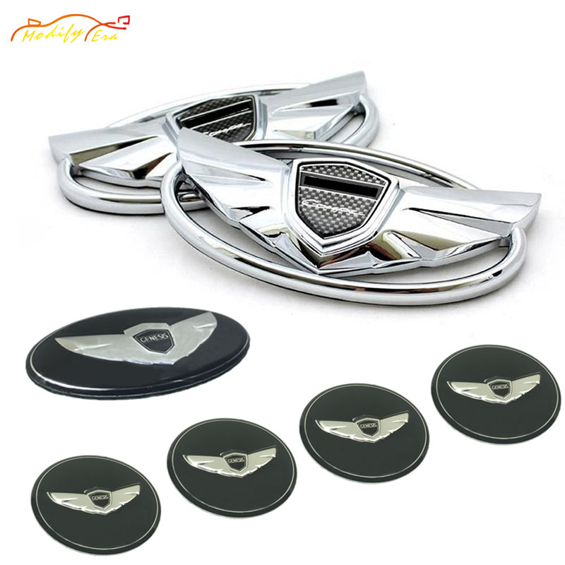 7pcs 3D Carbon Fiber/Silver Badge Emblems Kit With Double-side Tape car-styling car sticker For 2010-2015 Hyundai GENESIS COUPE