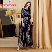 Plus Size Women Dress Summer Half Sleeve Floral Print Long Chiffon Party Dress Slim Elegant Vintage Casual Beach Maxi Dresses