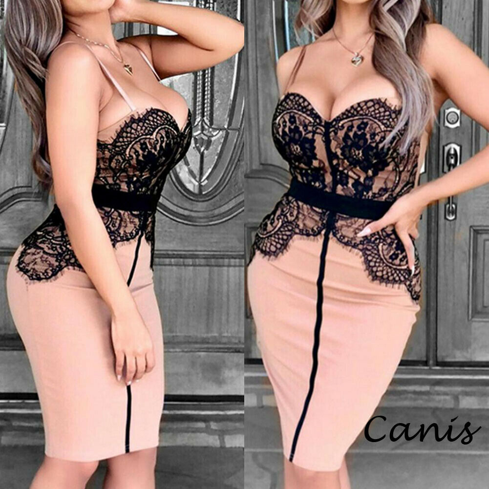 Women Lace Strap Bandage Bodycon Dress Sexy Sleeveless Evening Party Club Short Mini Dresses Backless Slim Vestidos in Dresses from Women 39 s Clothing