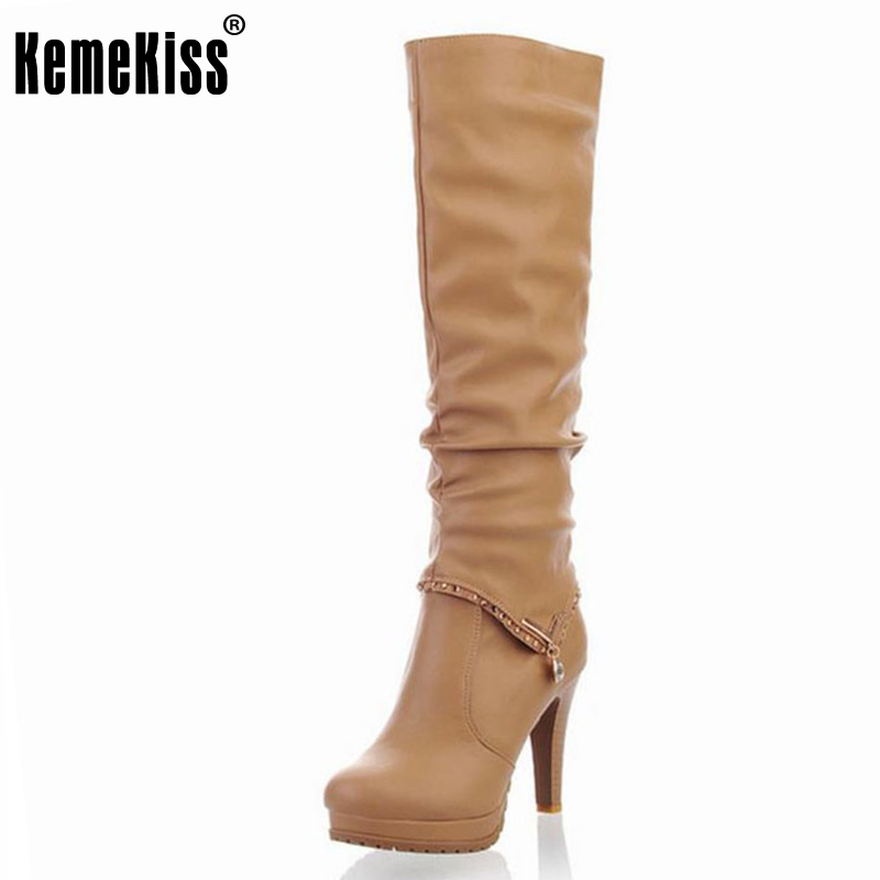 KemeKiss Free shipping knee boots women fashion snow winter footwear high heel shoes sexy warm half boot P6704 EUR size 34-40 free shipping over knee high heel boots women snow fashion winter warm footwear shoes boot p15646 eur size 30 49