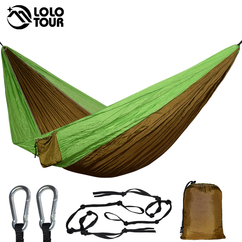 Nylon Parachute Portable Double Hammock Garden Outdoor Camping Travel Furniture Survival Hammock Swing Bed Sleeping For 2 Person