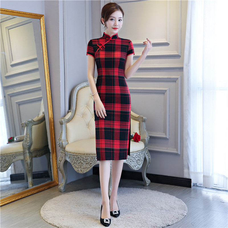 Open-Minded Shanghai Story Blend Cotton Chinese Traditional Dress Oriental Dress Plaid Cheongsam Short Sleeve Lattice Qipao For Women