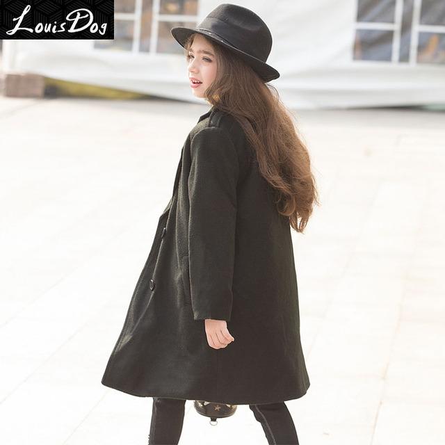 LouisDog Girls Double-Breasted Trench Coat Niños prendas de Vestir Exteriores de Mezcla De Lana Gruesa de Algodón Acolchado Chaquetas Abrigos niños Moda Negro