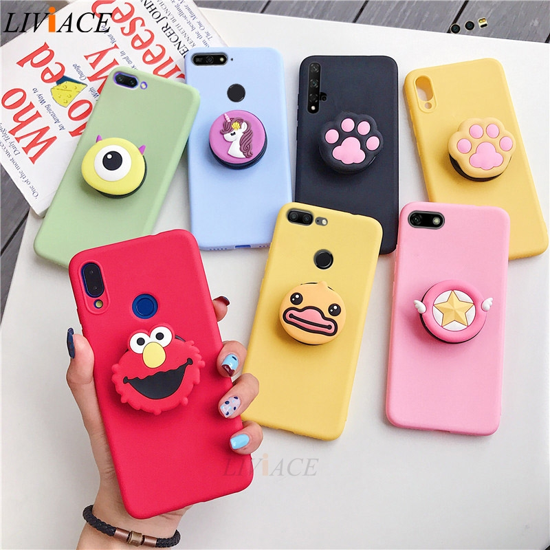 3D silicone cartoon case on for huawei honor 7a 7c pro 5.7 5.45 5.99 7s 7x 8 lite 8c 8a girl cute phone holder stand soft cover(China)