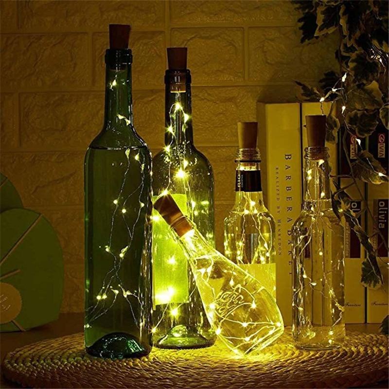 Wine Bottle Stopper Cork Light String 15 20 LED Copper