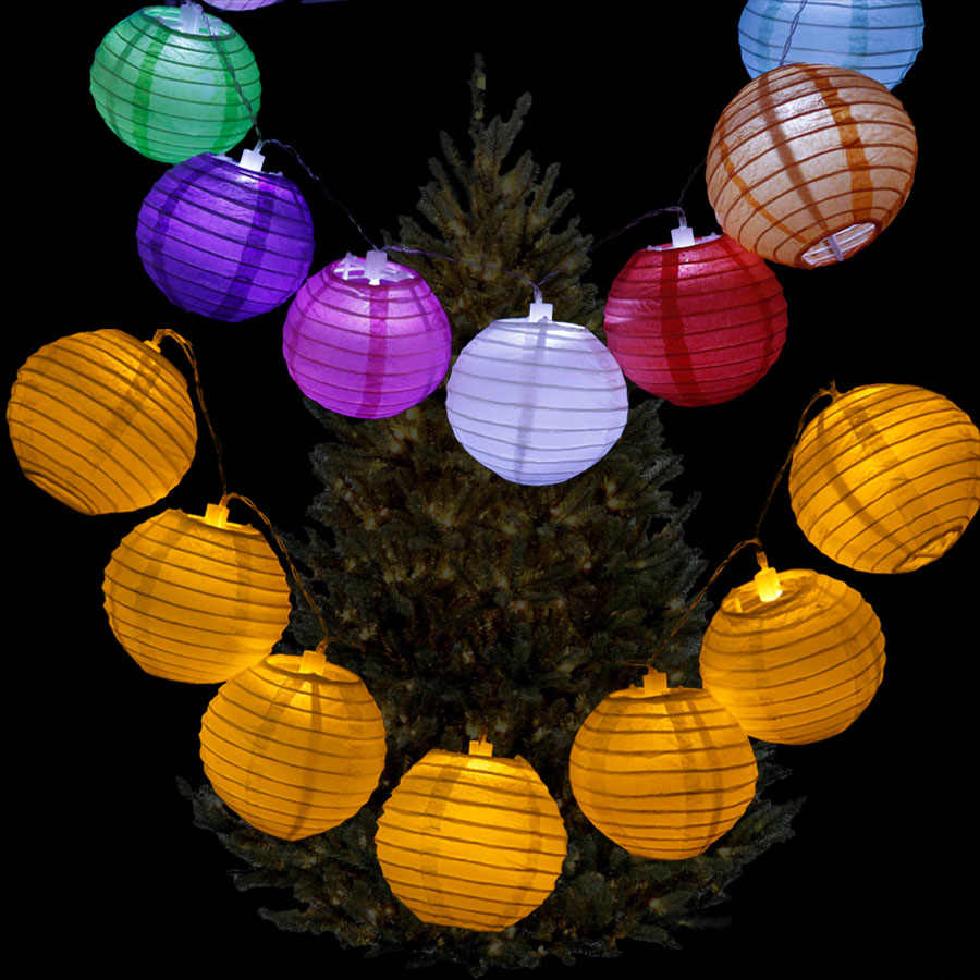 20pcs/set 4Inch Warm White Paper Lantern LED Colorful Hanging Lampion String Lights for Christmas Wedding Decoration