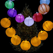 20pcs/set 4Inch Warm White Paper Lantern LED Colorful Hanging Lampion String Lights for Christmas Wedding Decoration(China)
