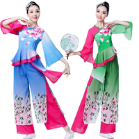 Girls Ballroom Traditional Chinese National Costumes Women Yangko Dancing Outfits Female Modern Fan Dance Clothes for Stage wear