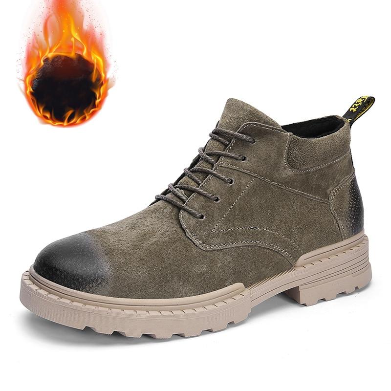 Véritable khaki Neige Chaussures brown With D'hiver L'eau Cuir Black Fur Bottes De Chaude Fur black Travail Fur Imperméable À Cheville No Haute Qualité Hommes Pour Mode Fur XrwXqOxB