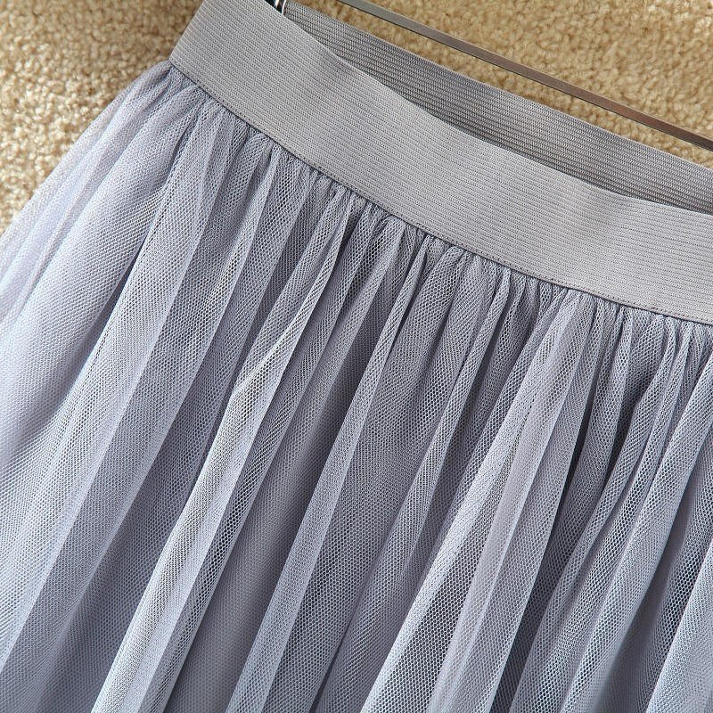 OHRYIYIE 19 Autumn Winter Vintage Skirts Womens Elastic High Waist Tulle Mesh Skirt Long Pleated Tutu Skirt Female Jupe Longue 13