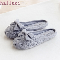 Cute Bowtie Warm Winter Women Home Slippers For Indoor Bedroom House Soft Bottom Shoes Adult Gusets