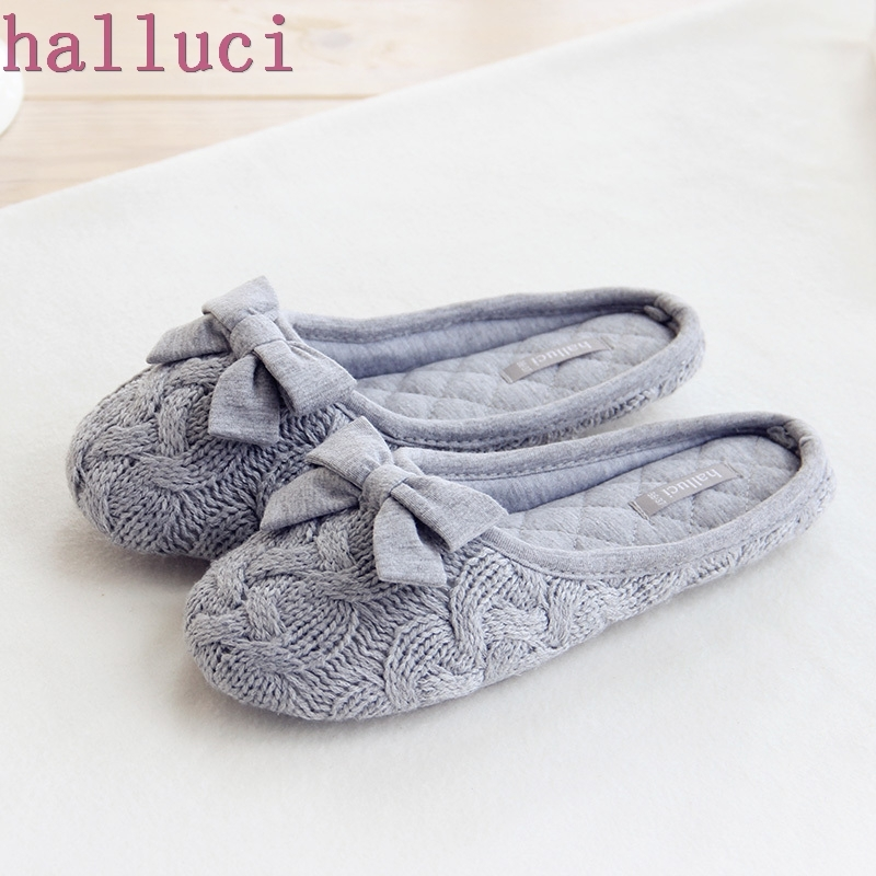 Knitted Bowtie Winter Women Home Slippers For Indoor Bedroom House Soft Bottom Cotton Warm Shoes Adult Guests Flats home slippers soft plush cotton cute slippers shoes non slip floor indoor house home fur slippers women shoes for bedroom