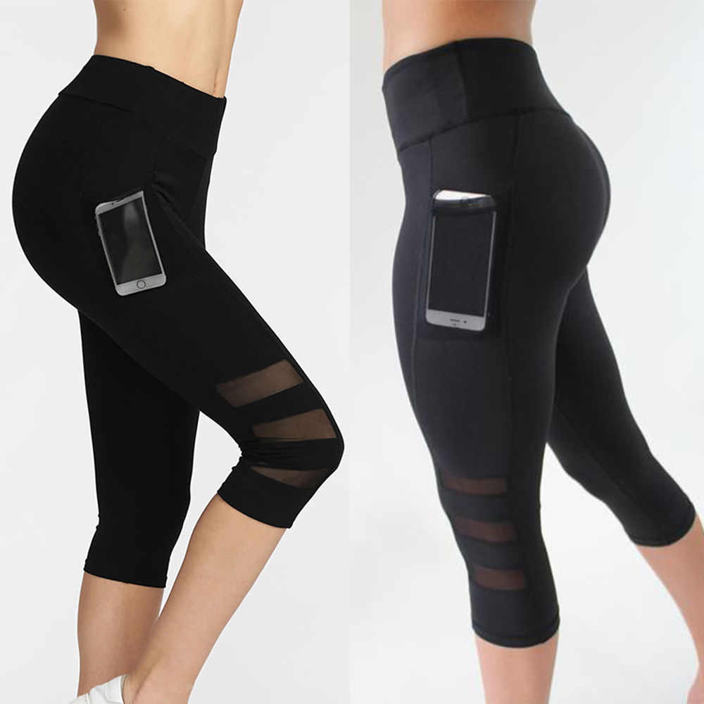 yoga running legging Capri Sport pants Women Fitness Gym High Waist Legging Girl Black Mesh 3/4 Yoga Pants