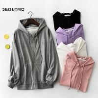SEDUTMO 2018 Autumn Jacket Women Sweatshirt Hoodies Boyfriend Coat Streetwear Harajuku Vintage Embroidery Jackets ED417
