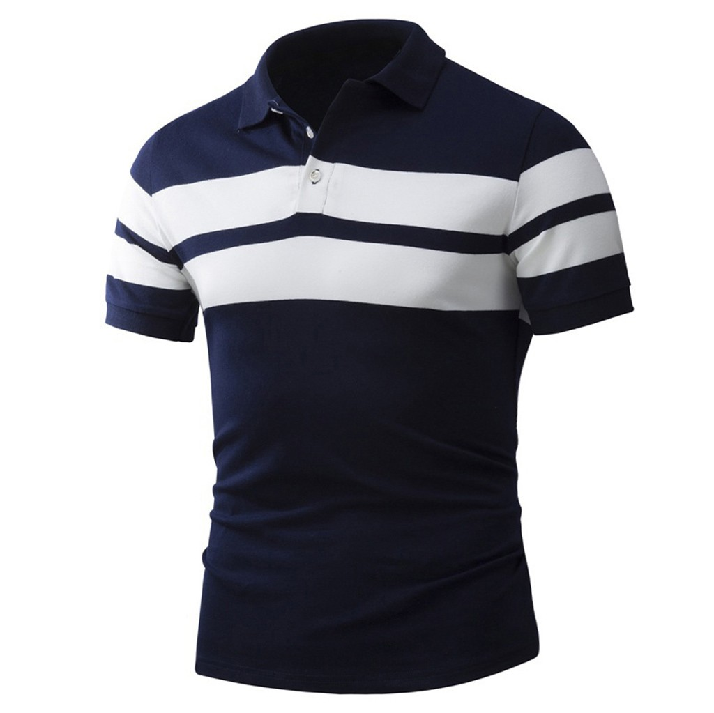 Polo   Shirt Men Quick Drying 2019 Breathable Men's   Polo   Shirt Summer Casual Stripe Turn Down Collar Shirt Short Sleeve Tee Top