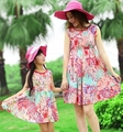 Free Shipping Bohemia FAMILY Dress New Summer Woman Girl Floral Dresses Girls Family Vest dress