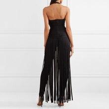 INDRESSM Deep V Halter Backless Women Bandage Party Dress Elegant Spaghetti Strap Tassel Split Floor Length Women Dress Vestidos