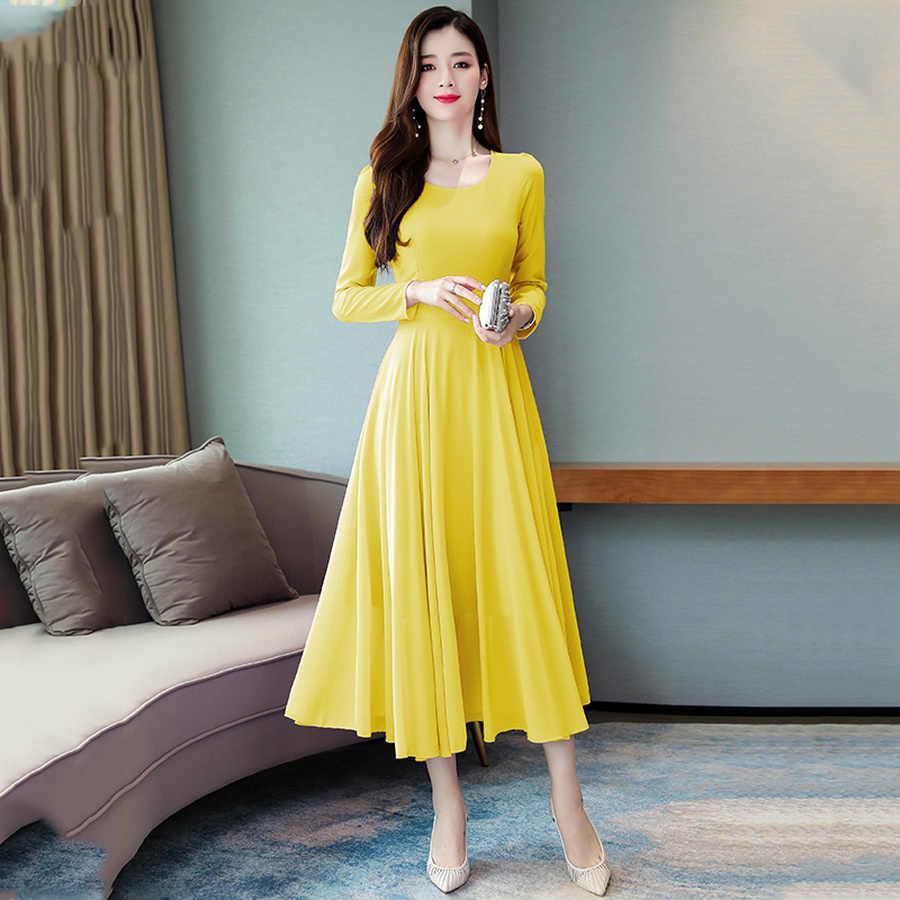 2019 винтажные однотонные макси платья с длинными рукавами Осень зима 3XL плюс размер шифоновое платье миди элегантные женские облегающие вечерние платья