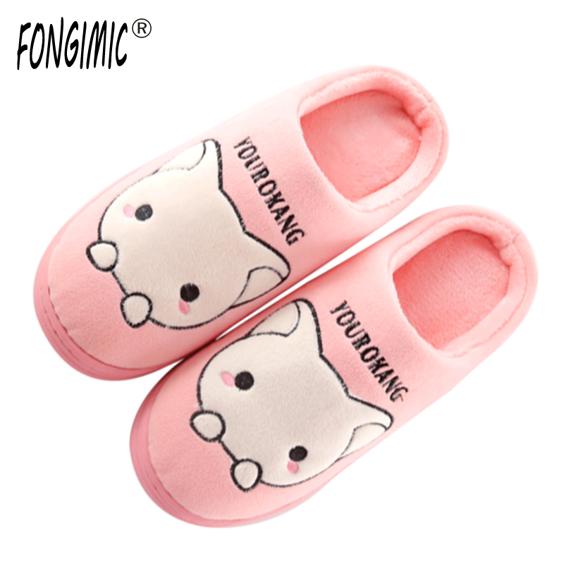 FONGIMIC Cute Women Winter Slipper Warm Indoor Simple Style Cotton Shoes Slippers Bedroom Men Women Couple Floor Slipper New new arrival fashion style couple wear shoes striped men women winter time slippers indoor wear unisex good quality comfortable