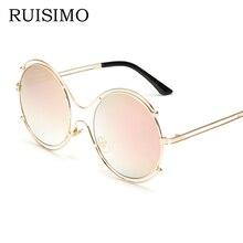 Pink classic Round Sunglasses Women men double circle female Mirror Lenses Sun Glasses For women retro Male oculos de sol