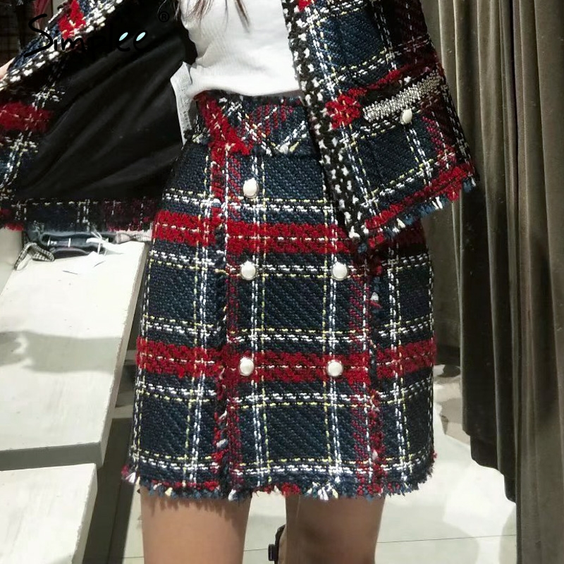 Simplee Office Mini Plaid Women Skirt High Waist Tweed Christmas Winter Black Skirt 2018 Vintage A-line Skirts Female Bottoms