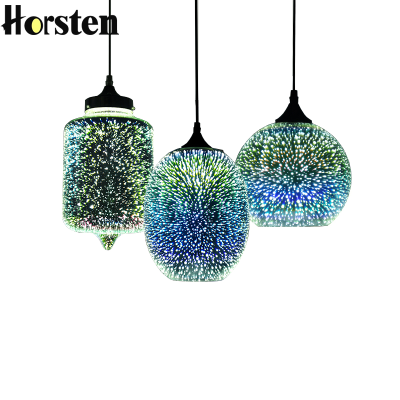 Horsten Novelty Modern LED Pendant Light Glass Hanging Lamps 3D Design Lamp E27 110V 220V For Bar Restaurant Cafe Living Room stylish rhinestone and cloud shape decorated flecky sunglasses for women
