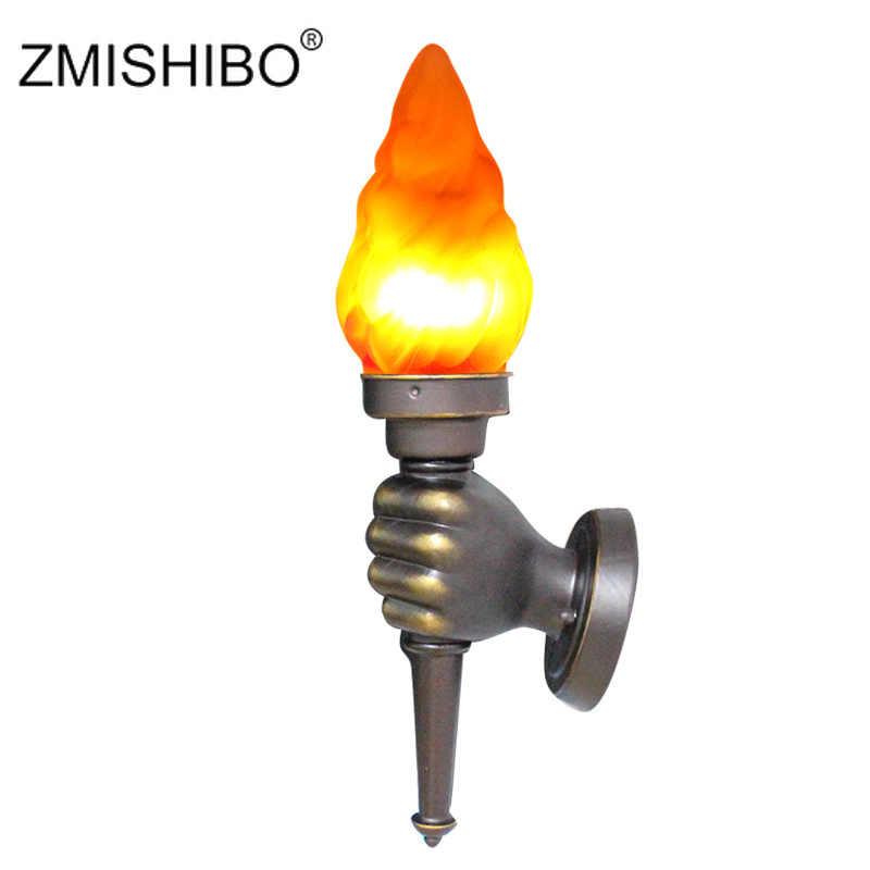ZMISHIBO светодиодный винтажный настенный светильник 48 см лампа пламени 85-265 в эффект пожаротушения домашние лампочки для праздника настенный светильник