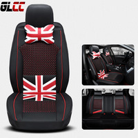 Car Seat Cover England Style Ice Silk PU Leather Front Rear Complete Set Universal 11 Seats